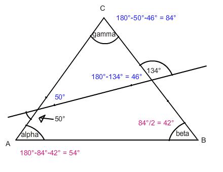 dreieck winkel alpha berechnen in der figur gamma ist doppelt so gross wie beta mathelounge. Black Bedroom Furniture Sets. Home Design Ideas