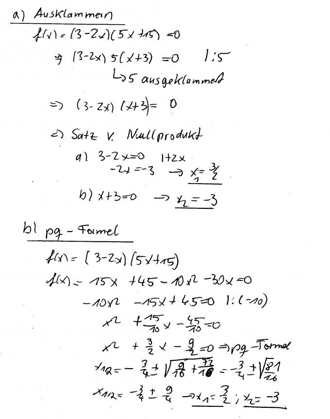 Nullstellen Durch Ausklammern Und Pq Formel Bestimmen Fx 3 2x