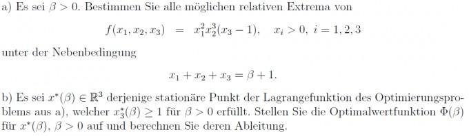 Optimalwertfunktion bestimmen (Funktion mit Nebenbedingung ...