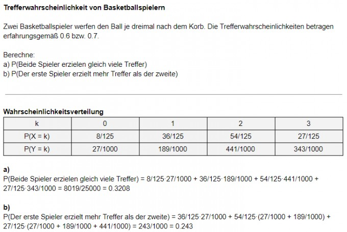 Binomialverteilung Treffwahrscheinlichkeit Basketballspieler ...