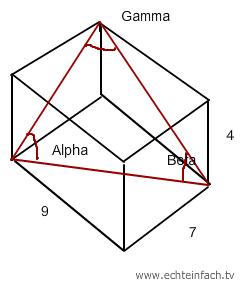 stereometrie winkel alpha beta und gamma im quader bestimmen mathelounge. Black Bedroom Furniture Sets. Home Design Ideas