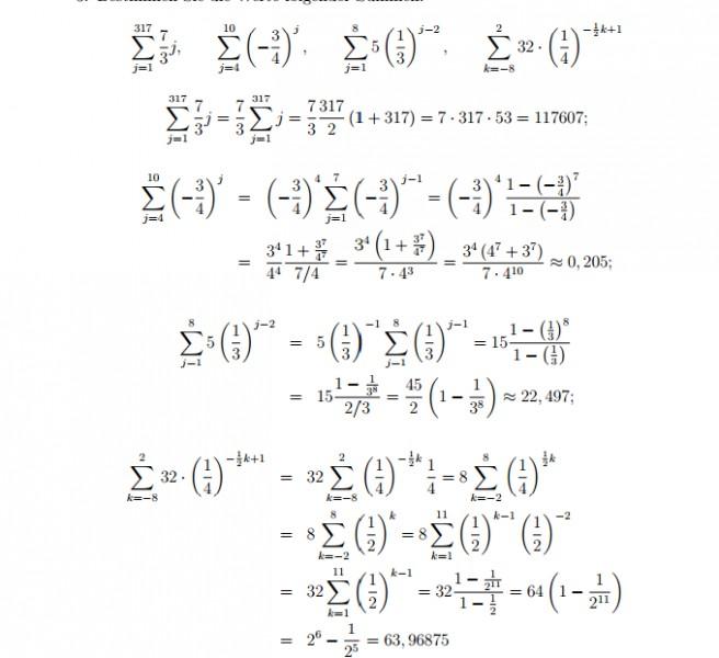 arithmetisch endliche summen 7 3 j 3 4 j 5 1 3 j 2 32 1 4. Black Bedroom Furniture Sets. Home Design Ideas