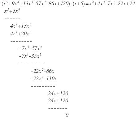 Polynomdivision mit den jeweiligen Linearfaktoren durchführen. 1 ...