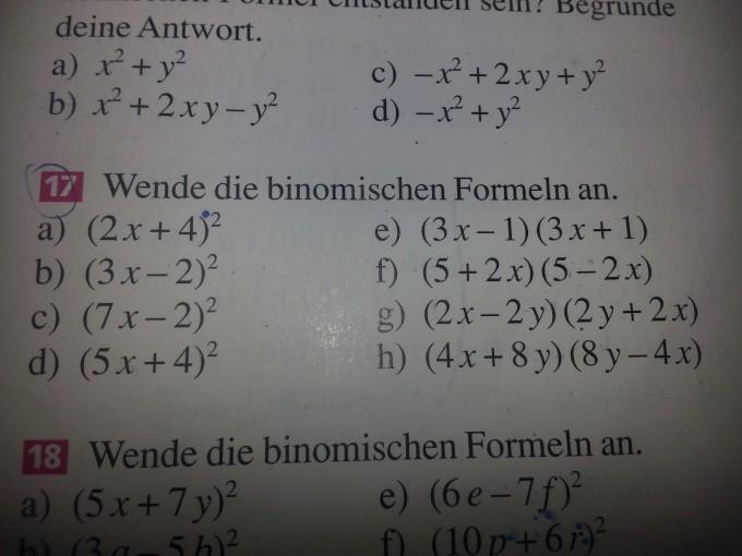 Binomische Formel. Klasse 8. 18*22 , (2x +4)^2, usw. | Mathelounge