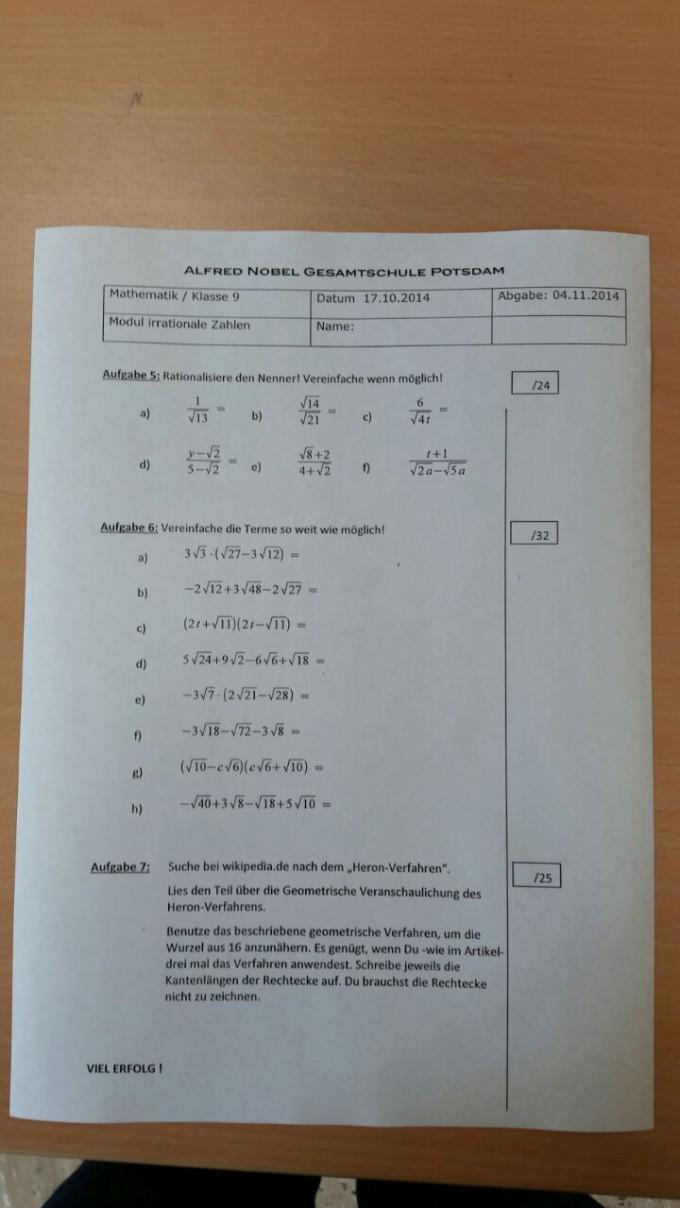 Terme mit Wurzeln vereinfachen: Arbeitsblatt Aufgabe 6 | Mathelounge