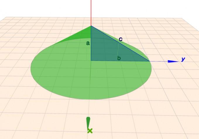 Kegel mit einbeschriebenem rechtwinkligen Dreieck