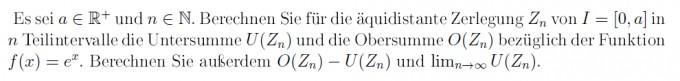 Äquidistante Zerlegung in Teilintervalle Untersumme und ...