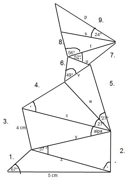 besteigungsaufgabe trigonometrie an 9 zusammenh ngenden dreiecken mathelounge. Black Bedroom Furniture Sets. Home Design Ideas