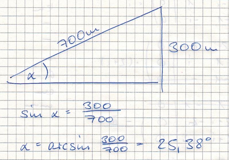 eine steilbahn steigt auf 700 m schr ge strecke um 300 m. Black Bedroom Furniture Sets. Home Design Ideas