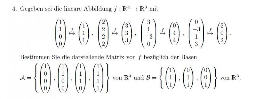 darstellende matrix einer linearen abbildung f r 4 r. Black Bedroom Furniture Sets. Home Design Ideas