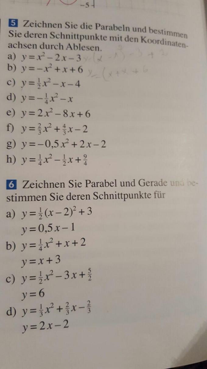 Schnittpunkt zweier parabeln