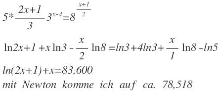 Ln(X) Auflösen