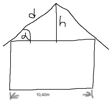 neigungswinkel und h he des satteldachs berechnen kosinus pythagoras mathelounge. Black Bedroom Furniture Sets. Home Design Ideas