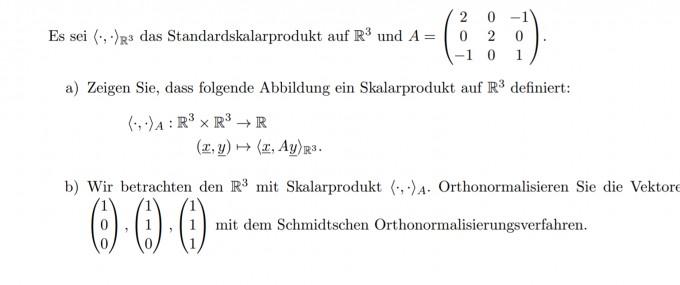 Skalarprodukt matrix zeigen | Mathelounge