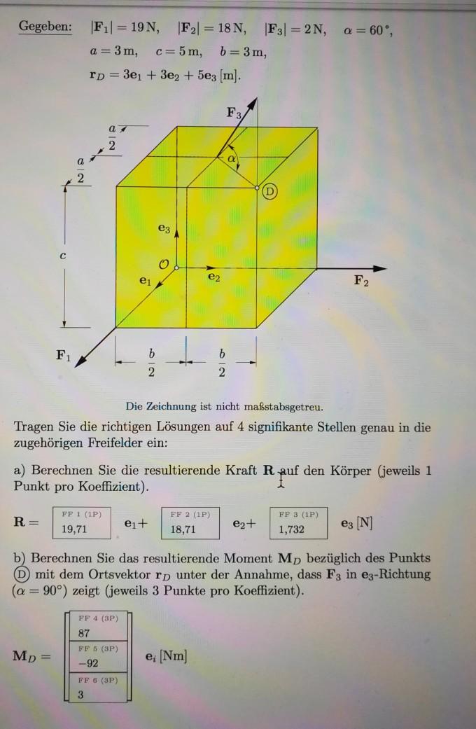 Vektoren resultierendes moment an einem 3 dimensionalen for Resultierende kraft berechnen