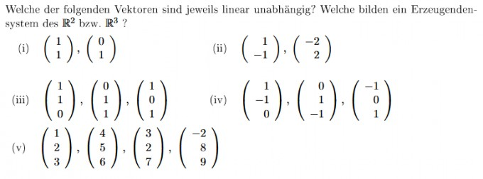 Erzeugendensystem Und Lineare Unabhängigkeit Bestimmen Mathelounge