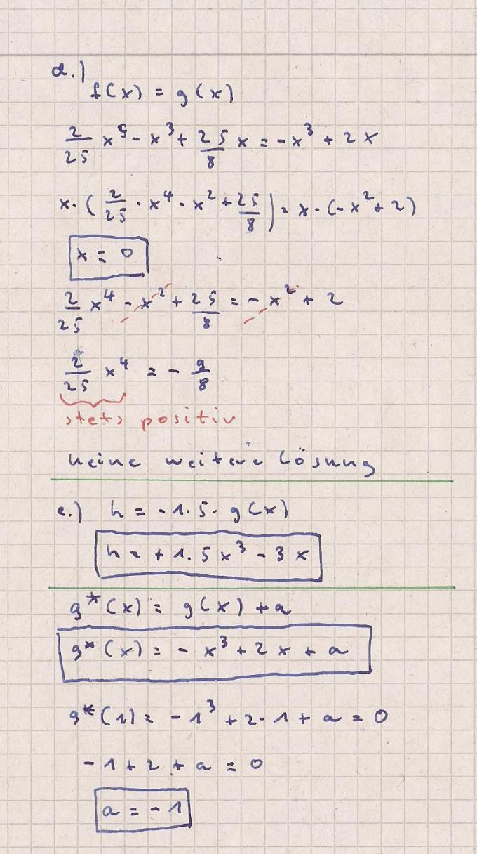Zusammengesetzte Aufgaben: Ganzrationale Funktion f(x) = x^4-3,25x^2 ...