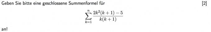 geschlossene formeln f r die summe von 2k 2 k 1 5 k. Black Bedroom Furniture Sets. Home Design Ideas