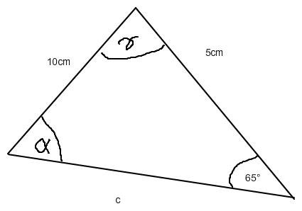 dritte seite vom allgemeinen dreieck berechnen a 5 cm b 10 cm beta 65 mathelounge. Black Bedroom Furniture Sets. Home Design Ideas