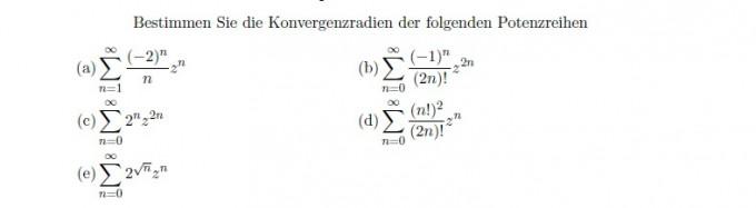 Bestimmen Sie Die Konvergenzradien Mathelounge