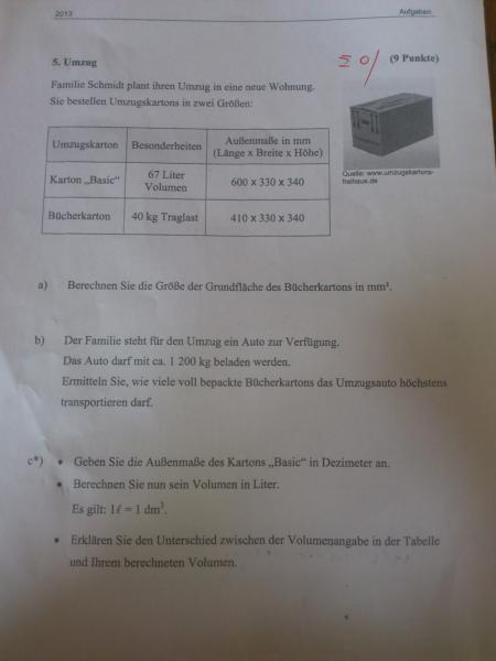 Wie kann ich von einer Kiste die Grundfläche berechnen? | Mathelounge