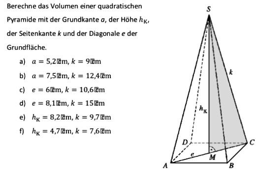 quadratische pyramide h he berechnen rechner pyramide. Black Bedroom Furniture Sets. Home Design Ideas