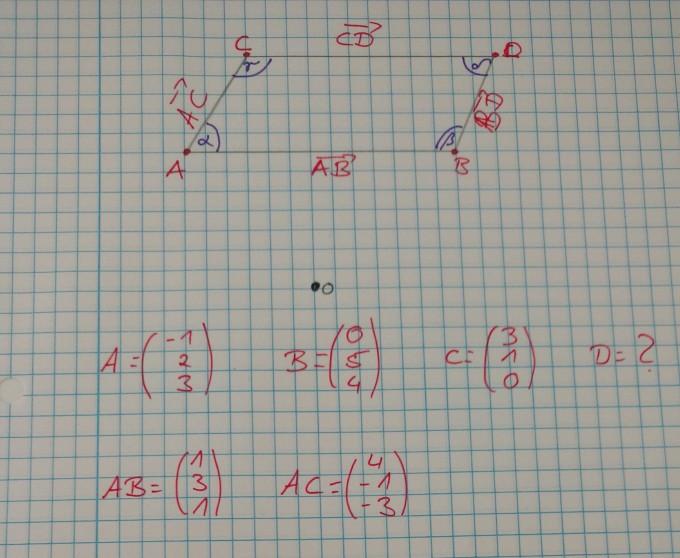 Die Punkte A, B,C und D bilden ein Parallelogramm. Bestimmen Sie den ...