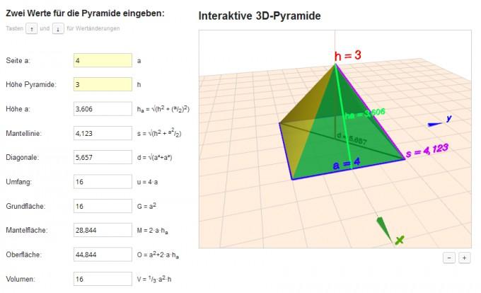 matheretter neues geometrie programm pyramiden online berechnen aus nur 2 werten inkl 3d. Black Bedroom Furniture Sets. Home Design Ideas