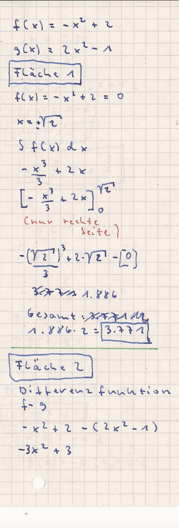 analysis integralrechnung fl chen in verschiedenen quadranten a f x 0 5x 2 0 5 g x 1. Black Bedroom Furniture Sets. Home Design Ideas