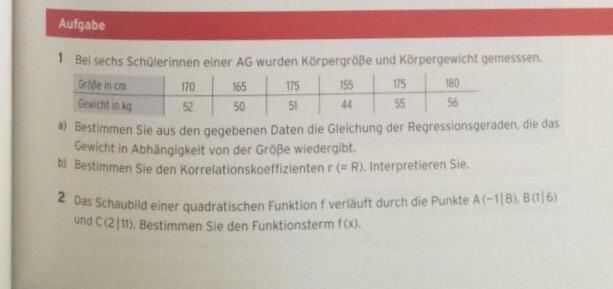 Regression Berechnen Beispiel Schulerinnen Einer Ag Korpergrosse Und Korpergewicht Mathelounge