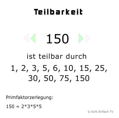 Was sind die Teiler von 144, 150, 186? Und was sind ...