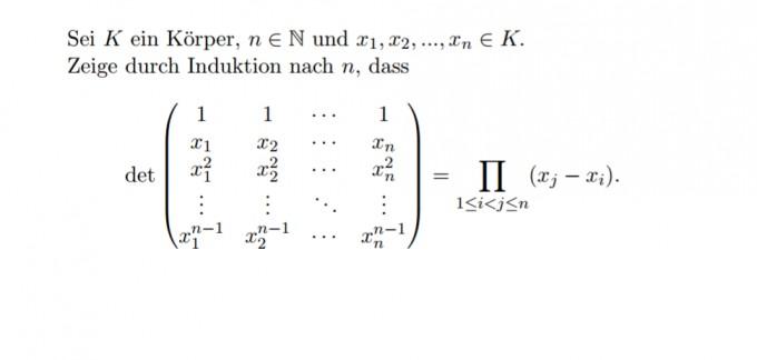 formel f r determinate dieser matrix mit induktion beweisen mathelounge. Black Bedroom Furniture Sets. Home Design Ideas