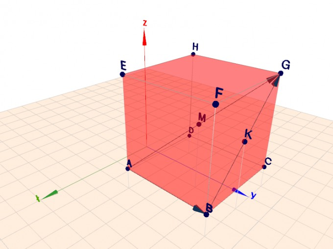 3D-koordinater för kuben med rymddiagonal och sidodiagonal