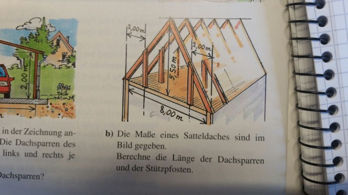 wie lange sind die dachsparren mathelounge. Black Bedroom Furniture Sets. Home Design Ideas