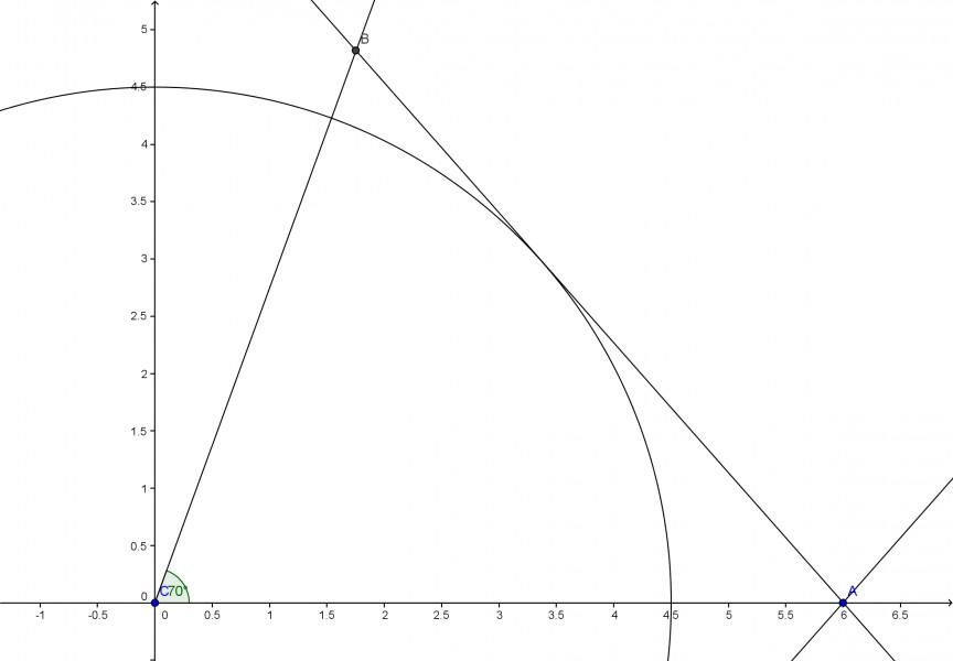 Wie soll ich das Dreieck b=6cm, gamma=70 grad und hc=4,5cm