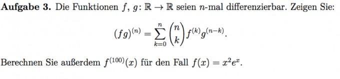 n-mal differenzierbare Funktionen (fg)^n | Mathelounge