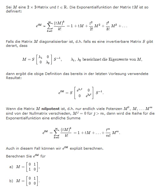 exponentialfunktion exponentialfunktion von matrizen s 1 as berechnen mathelounge. Black Bedroom Furniture Sets. Home Design Ideas